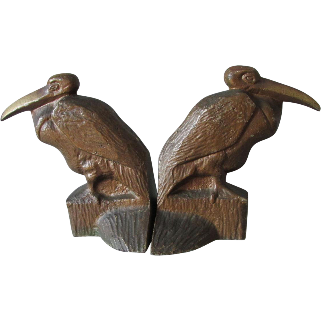 c1920s Art Deco Cast Iron Pelican Bird Bookends