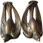 c1920-30s Art Deco Bird Bookends, Cast Iron
