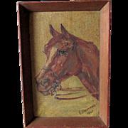 Folk Art Oil Painting of a Horse, Signed E. Linzenmeier
