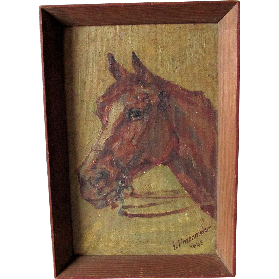 Folk Art Oil Painting of a Horse, Signed E. Linzenmeier