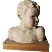 Mid Century Terra Cotta Sculpture of a Boy, Signed