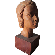 Mid century Terra Cotta Sculpture of a Girl, Signed