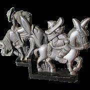 Mid Century Hammered Aluminum Sculptures, Don Quixote & Sancho Panza