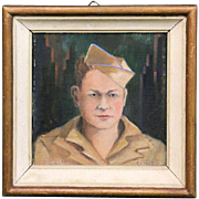 c1945 World War II Oil Painting of American Soldier, Signed