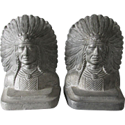 Arts & Crafts Native American Indian Bookends, Metalware