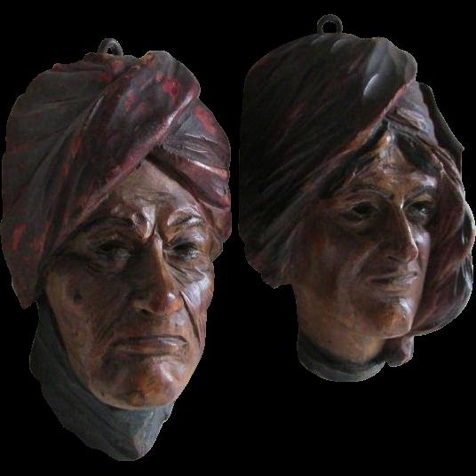 Pair Antique Hand Carved Arabian Moorish Faces