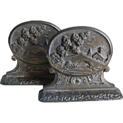 Art Deco Bookends with Village Motif, Cast Iron