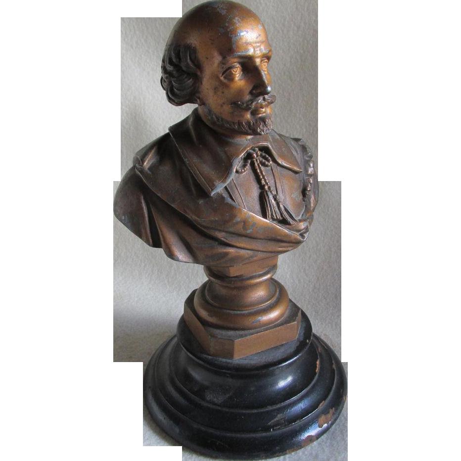 Antique William Shakespeare Bust, Sculpture