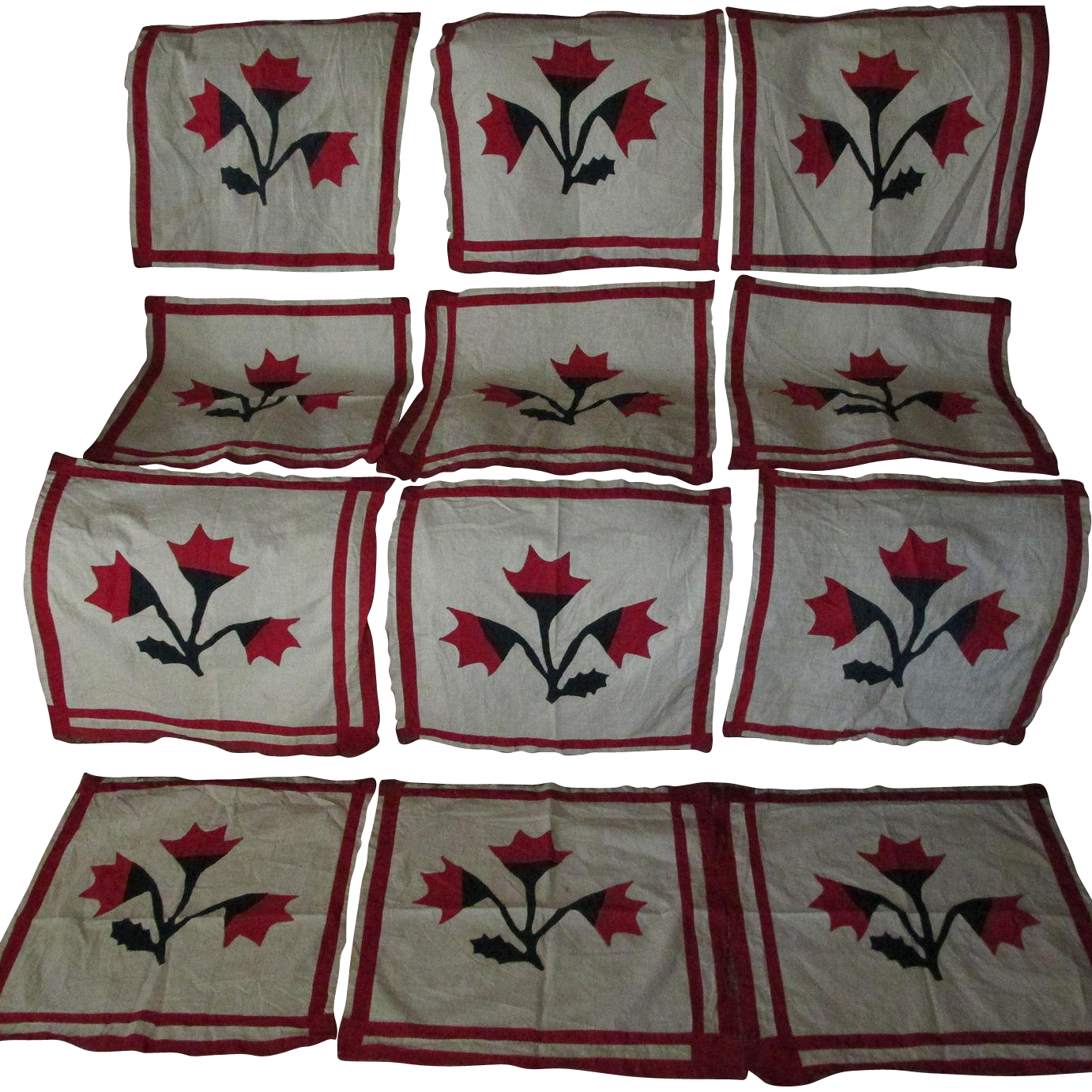 19thC Hand Sewn Applique Quilt Squares from neatcurios on Ruby Lane