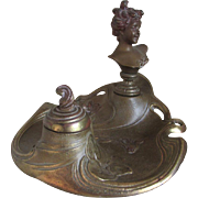 Antique Art Nouveau Inkwell with Lady Figurine