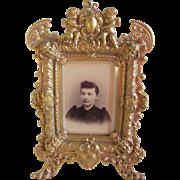 Antique Bronze Mirror, Picture Frame with Gargoyles