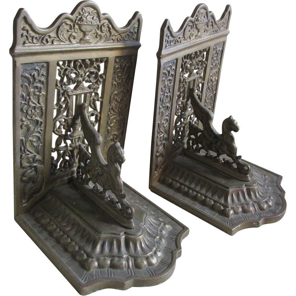 Antique Gothic Bookends with Gargoyle,  Griffins