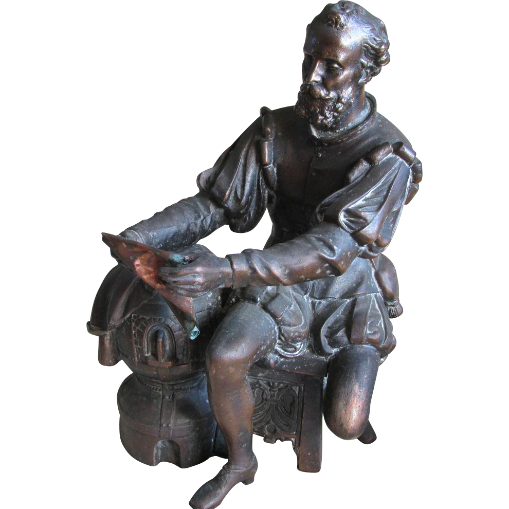 19thC Victorian Sculpture of an Explorer, Nautical Gentleman