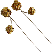 Pair c1890s Victorian Gilded Hat Pins with Fascinators