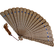 Vintage Hand Carved Chinese, Cantonese Ladies Fan