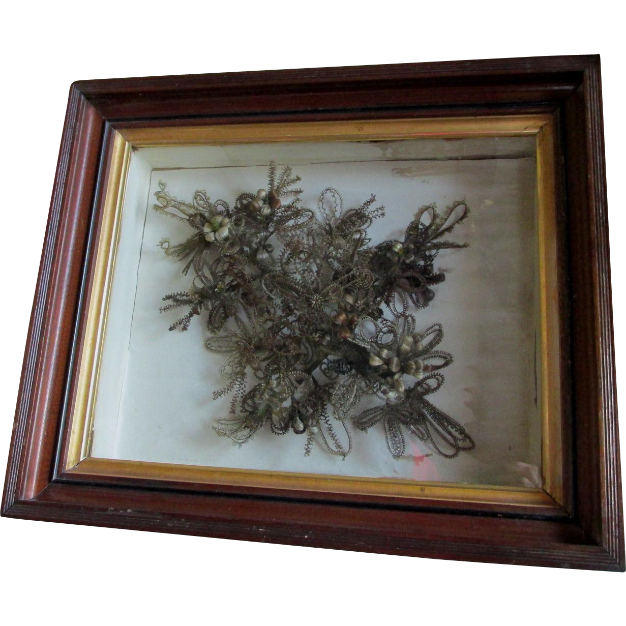 c1870s Victorian Hair Flower Bouquet, Shadowbox Frame