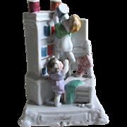 c1880s Victorian Porcelain Fairing Figurine Children & Doll