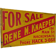 Vintage c1940s Wood Advertising For Sale Sign