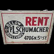 c1930-40s  Wood Advertising, For Rent Sign, PL Schumacher