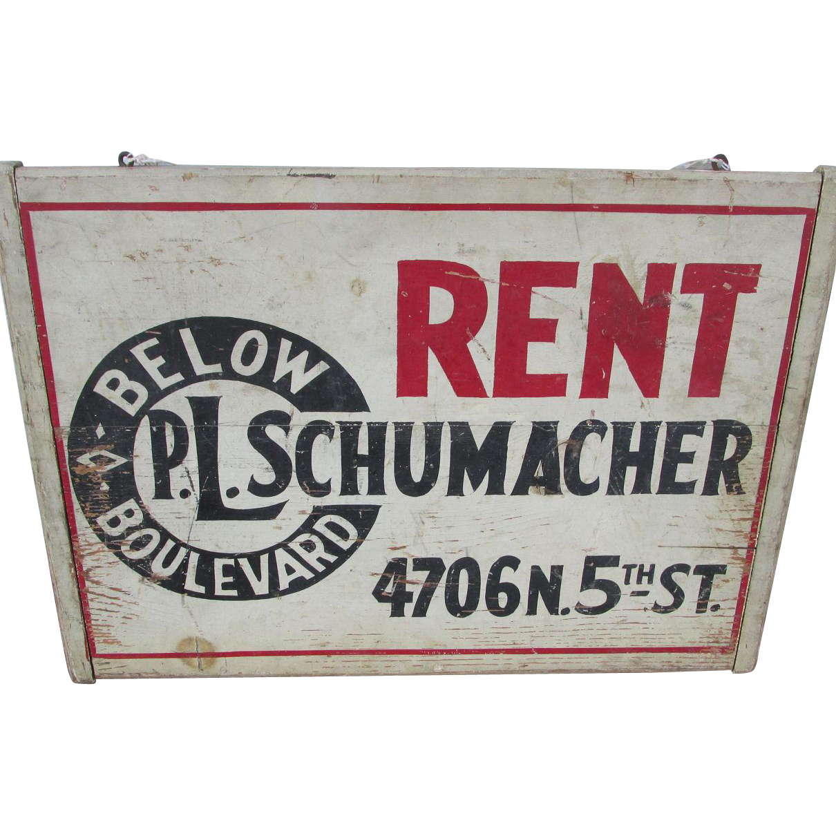 c1930-40s  Wood Advertising, For Rent Sign, PL Schumacher