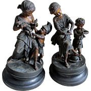 Pair c1880 Victorian Sculptures Children & Dolls