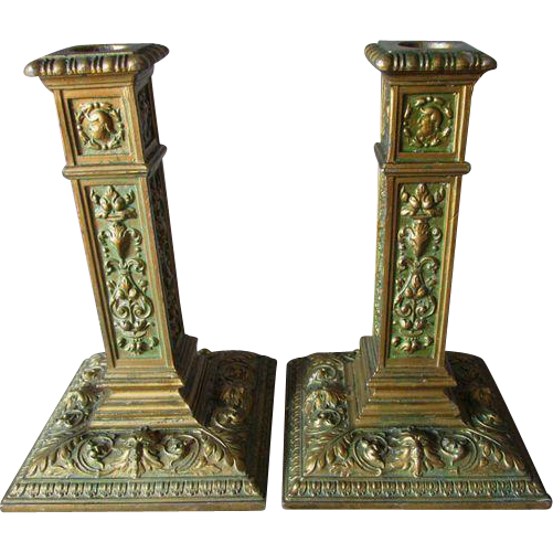 PR Antique Candlesticks with Gargoyles, Northwind Faces