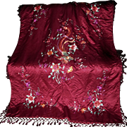 Vintage Chinese Silk Embroidered Piano Shawl, Tablecloth