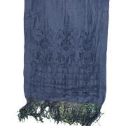 Antique Victorian Silk Embroidered Shawl with Fringe