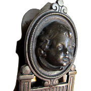 Antique Cherub Face Desk Top Paperclip, Memo Holder