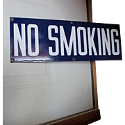 Vintage Enamel Porcelain No Smoking Sign, Advertising
