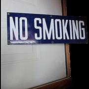 Vintage Enamel Porcelain No Smoking Sign, Advertising