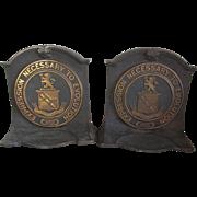 c1920 Bronze, Cast Iron Emerson College Boston Bookends