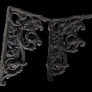 Pair Cast Iron Victorian Shelf Brackets, Bleeding Heart Flowers