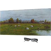 c1922 Folk Art Oil Painting Cows and Cottage