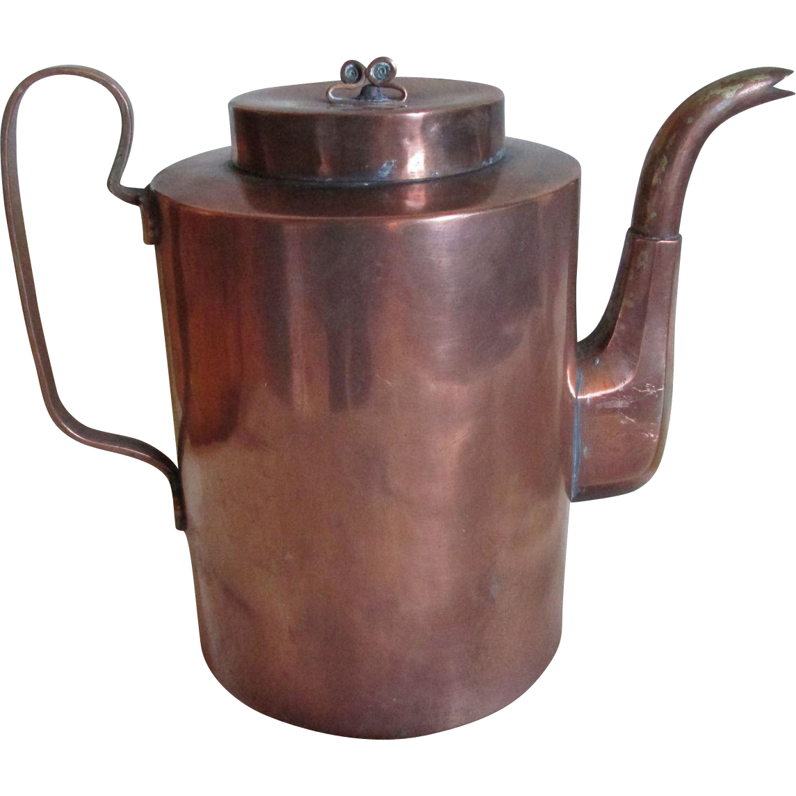 19thC European Goose Neck Copper Coffee Pot