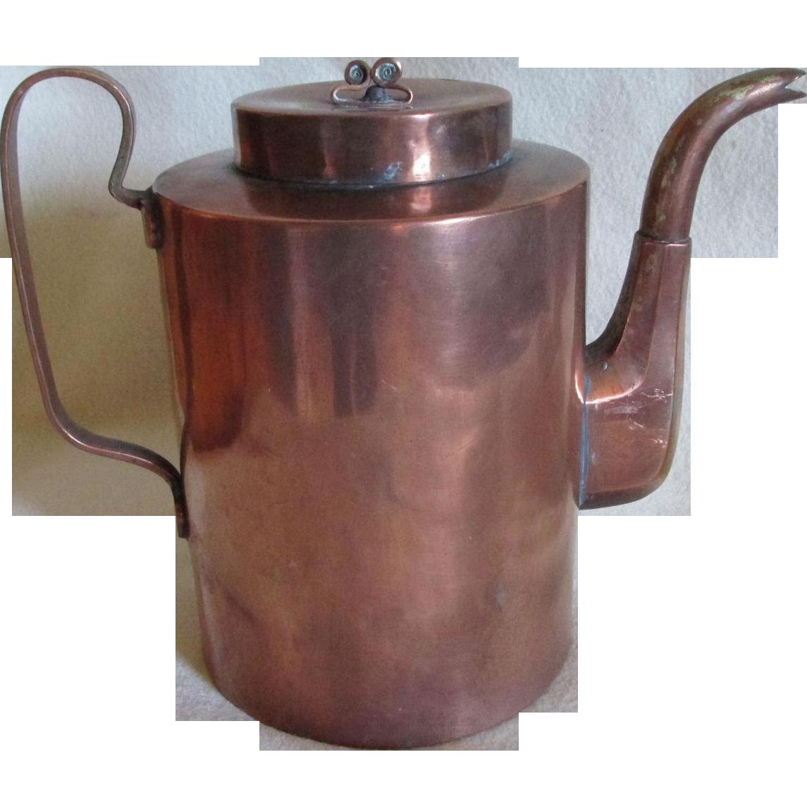 Antique Primitive 19thC Goose Neck, Copper Coffee Pot, Teapot