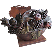 Hand Carved Fruit Basket Black Forest Bookends