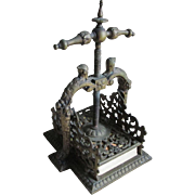Antique Bronze Playing Card Press with Knight Finials