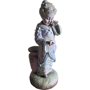 19thC French Bisque Figurine, Vase of Girl with Bird