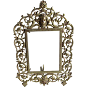 Antique Vanity Mirror, Picture Frame with Cherub Angel