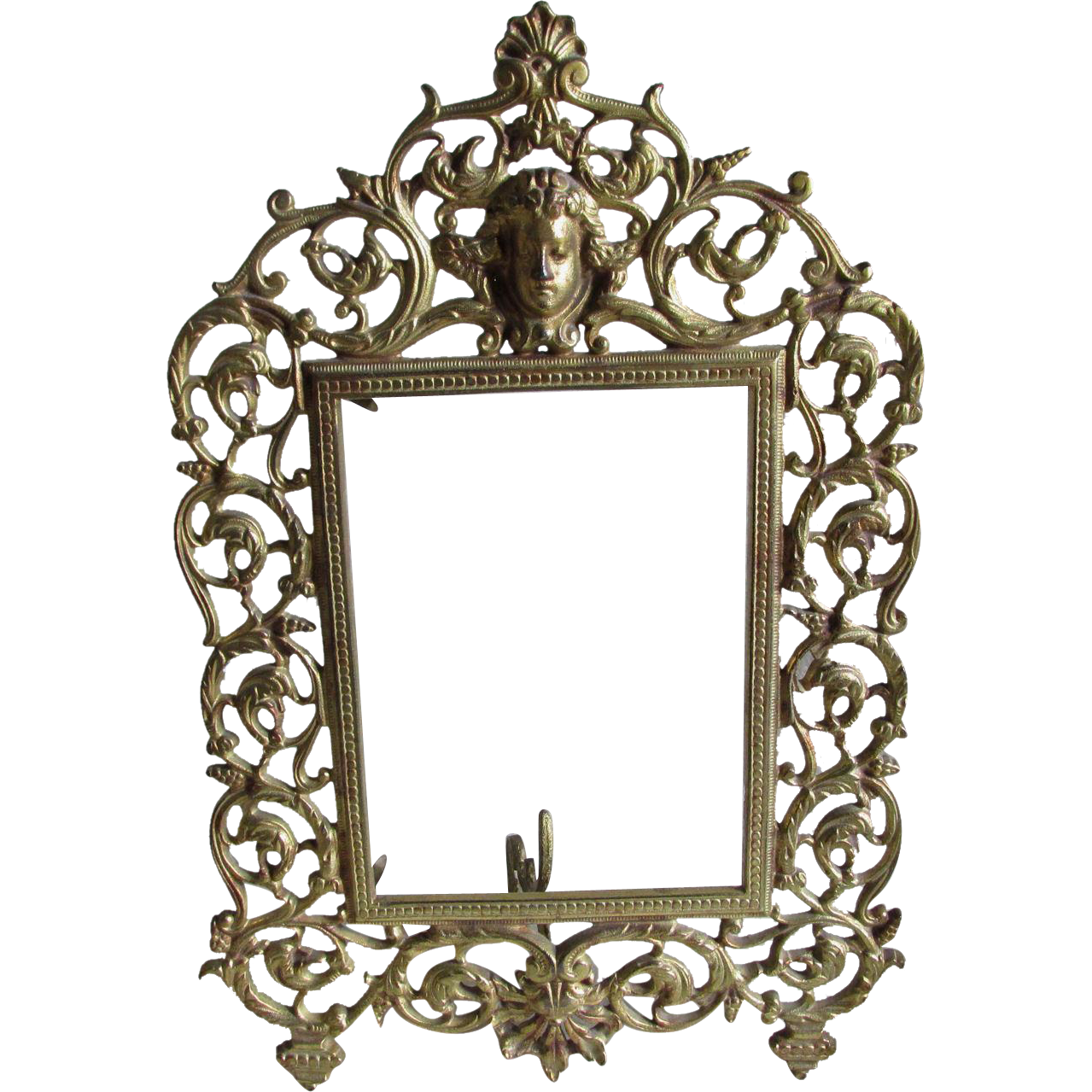 Antique Vanity Mirror, Picture Frame with Cherub Angel
