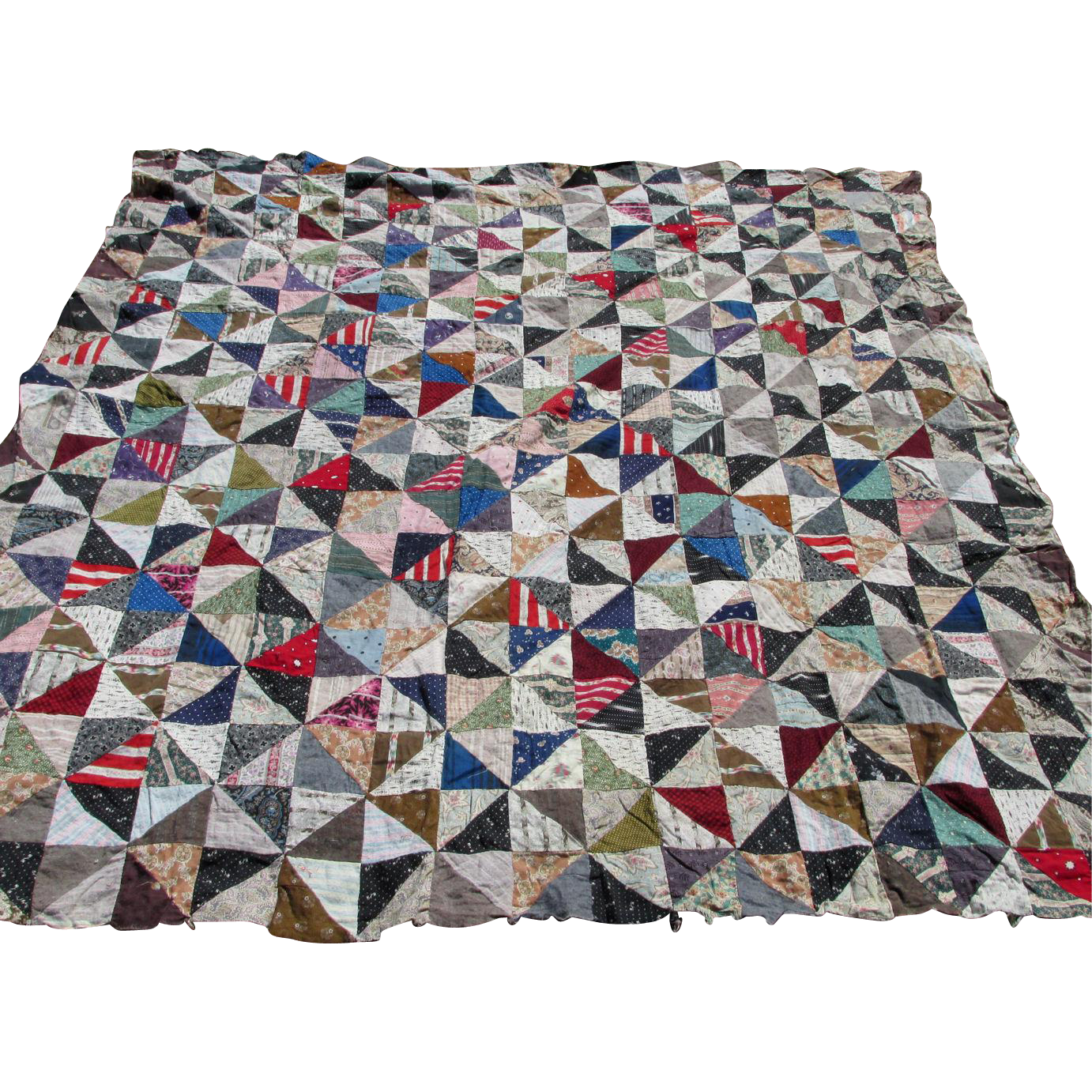 19thC  Calico & Flannel Quilt Top, Nice Fabrics