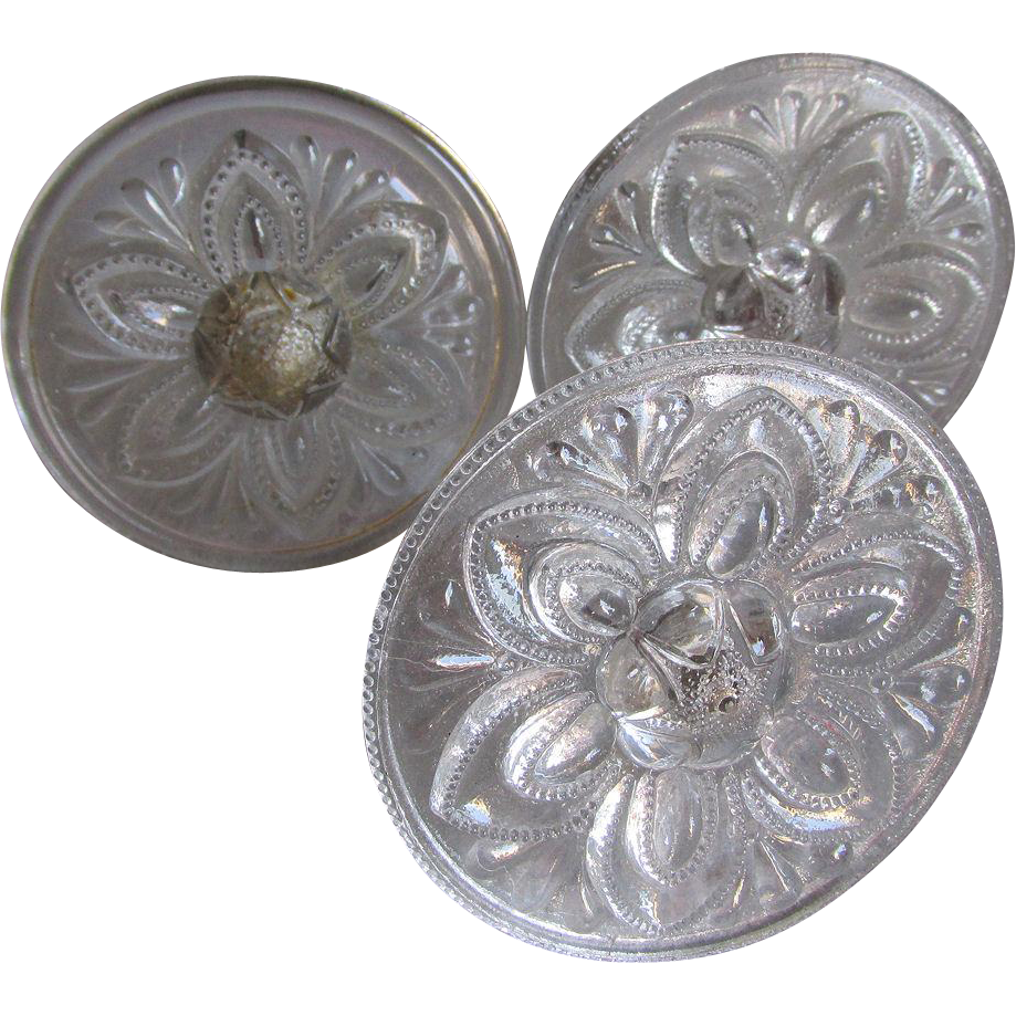 3 Early American Pattern Glass Curtain Tiebacks
