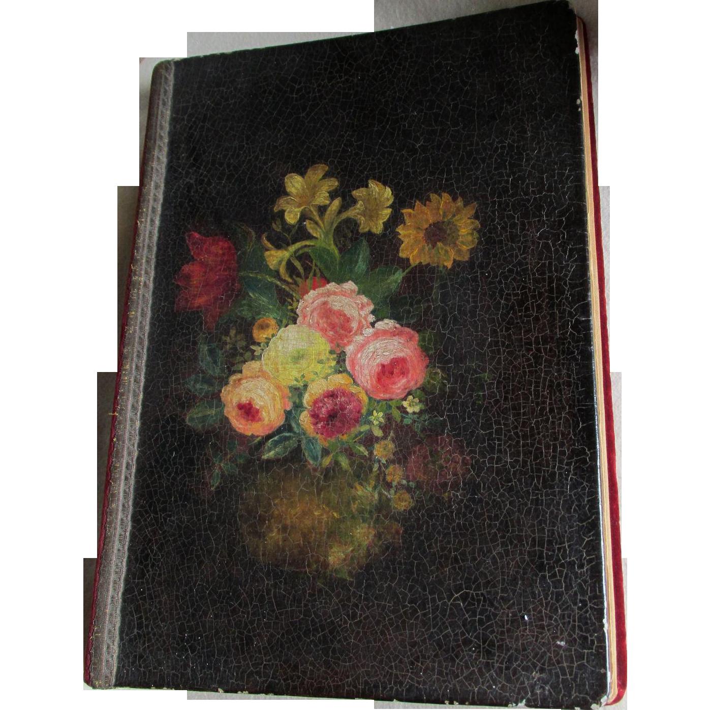 Lovely c1920-30s Tole Ware Paper Mache, Velvet Scrapbook