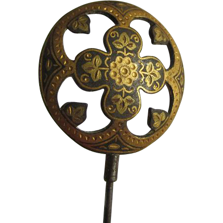 Antique Victorian Mixed Metal Damascene Hatpin