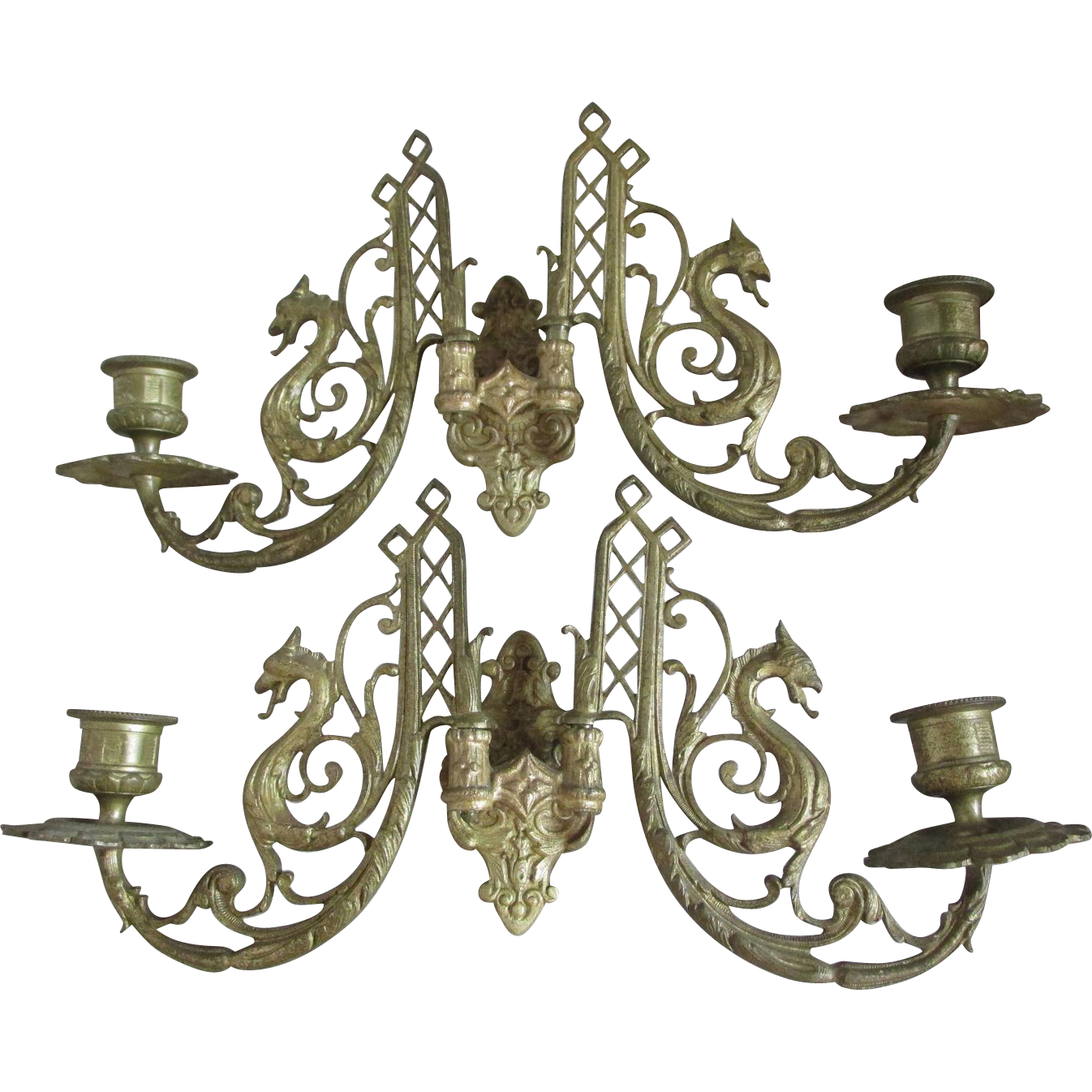 Pair Gothic Gargoyle Candle Sconces, Candlesticks