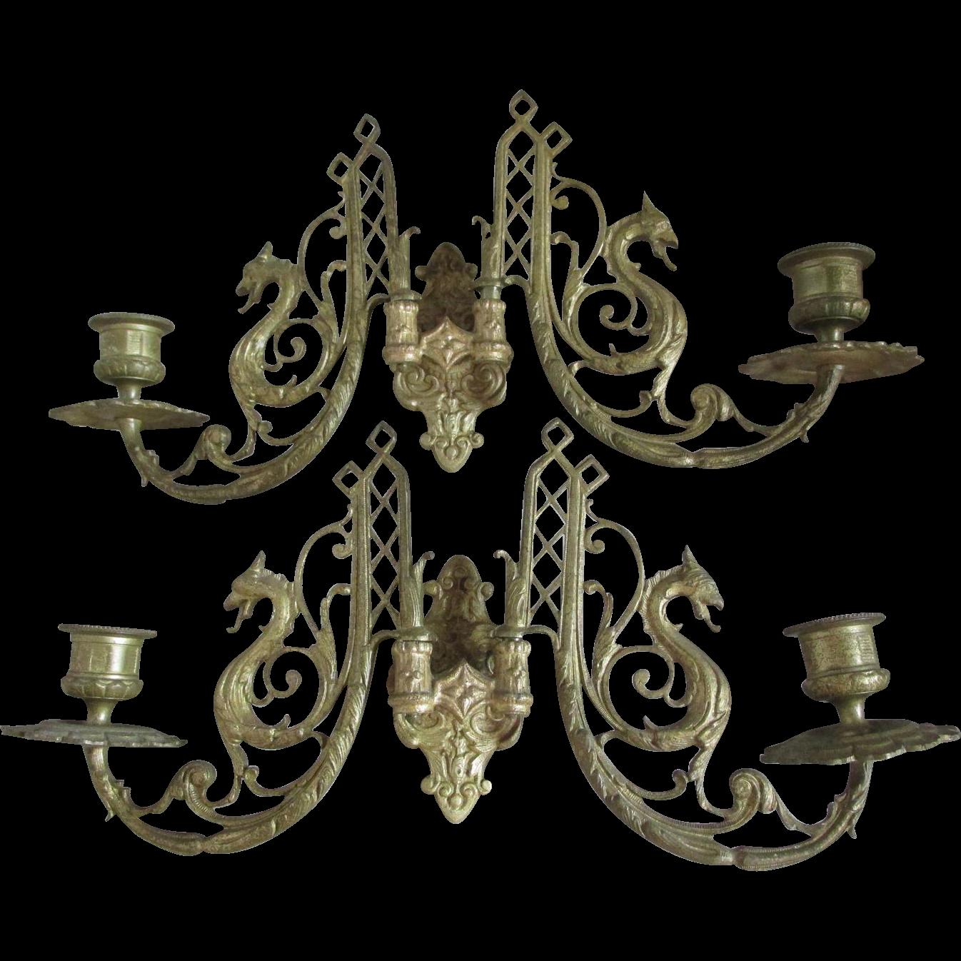 Pair Gothic Gargoyle Candle Sconces, Candlesticks from neatcurios on Ruby Lane