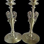 Pair Elegant 19thC Victorian Aesthetic Candlesticks