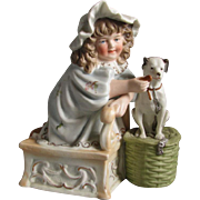Pretty Girl with Dog Victorian Bisque Figurine
