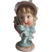 19thC Victorian Bisque Bust of a Pretty Little Girl, Figurine